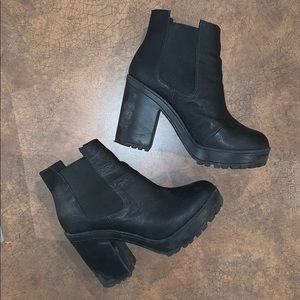 H&M Black Faux Leather Platform Ankle Boots
